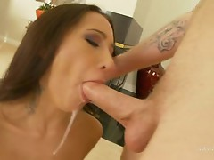 Human anaconda sprays a load of cum all over Amia Moretti's sexy face
