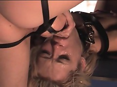 Aiden Starr crams tool down the gagging throat of lesbo whore Rebecca Blue