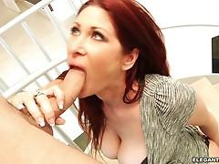 Redhead Tiffany Mynx throat fucks this stiff skin flute