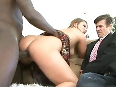 Aurora Snow fucks a big cock in front of her hubby
