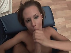 Skinny babe takes this cock in her hot mouth