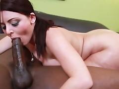 Blistering brunette Sophie Dee works a huge black cock