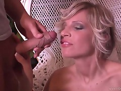 Tiffany Rousso gets her face doused with warm jizz