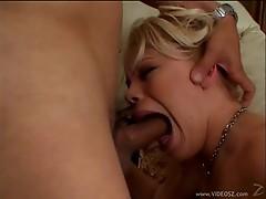 Tempting Gia Paloma chokes on this hard throbbing cock