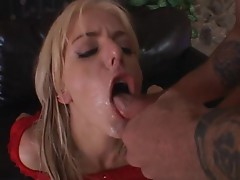 Angela Stone gets on her knees and gets her mouth splooged in and swallows