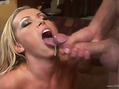 Saucy babe Nikki Benz gets drizzled with warm nut juice