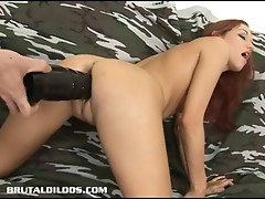 Smokie fucked by a brutal dildo