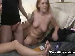 2 girls blowing and fucking a guy