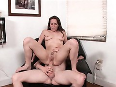 Ann Parker needs a big napkin to clean up the cum coming out of her mouth