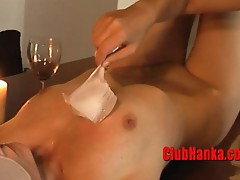 HOT wax and ice on a luscious MILF body