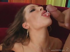 Saucy Vanessa Lane gets drizzled with warm dick juice