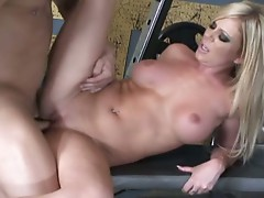 Ahryan Astyn lies down to take a big one in her pussy and rides along