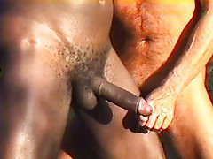 Outdoor gay interracial blowjob
