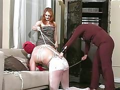 Femdom chicks bondage and torture poor slave