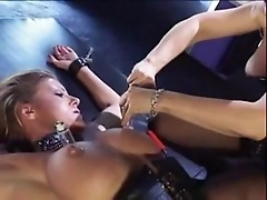 Nina Hartley in hot lesbian scene of pussy torture