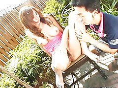 Asian babe outdoor masturbation action