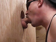 Catcher smoking pole through gloryhole