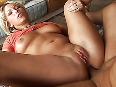 Busty babe gets a nice cumshot in her mouth
