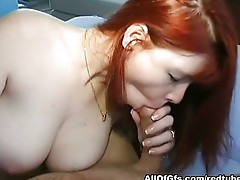 Redhead girl gets cum shot on the ass