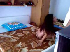 horny teenage amatuer couple fucking very hardly in their house