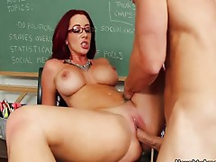 Redhead teacher Jayden James fucks a cock
