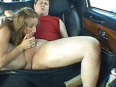 Two horny blondes fucked inside the van
