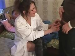 Russian doc gangbanged