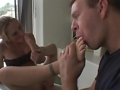Gen Padova licks cum juice from her feet