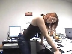 Nasty German female student is making love in the corporation office