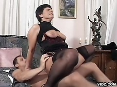 Granny is endowed with deep throat blowjob