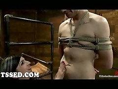 Tied guy fucked by shemale