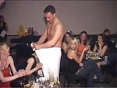 At the all-girl's party, a group of slewed heifers sucked off a stripper's John Thomas