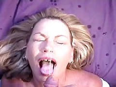 Blonde girl covered facial