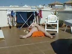 Ohhhhh...caught my mom masturbating on roof terrace