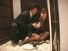 Drunk Asian secretary is banged after office party