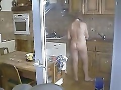 Mom naked in the kitchen