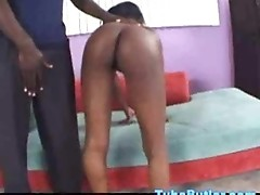 Ebony teen taking a huge black cock