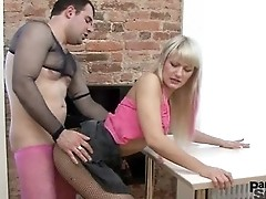 Anita gets penetrated in different position ut always through her pantyhose