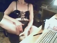 My mum at computer masturbating. Hidden cam