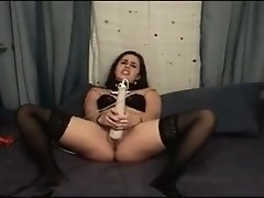 Fat beauty Kacey shows fat cunt and plays with dildo