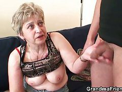 Mature mom in hard threesome bang