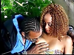 Curly black chick gets her hot face jizzed