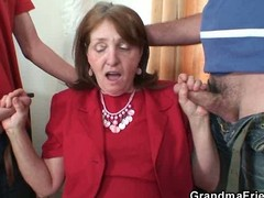 Bossy old bitch fucked by two employers Bossy old bitch fucked by two workers