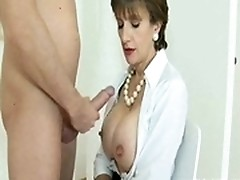 Whore working as doctor is practicing fingerjob
