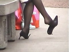 Someone is shooting female legs in pantyhose