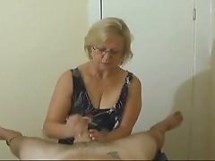Mrs Watson is elderly mom massaging cock on camera