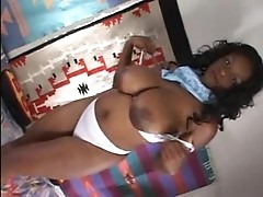 Black beauty with biggest boobies with cock & dildo