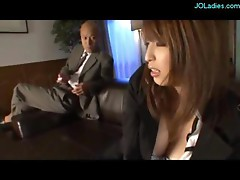 Secretary With Tied Arms Getting Her Pussy Stimulated With Vibrator By Her Boss On The Couch