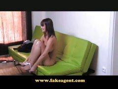 FakeAgent Elegant slippery tit wank at interview
