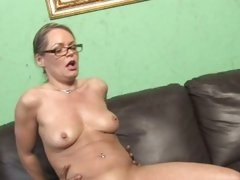 Kelly Leigh doing a hard sex on couch with hot guy